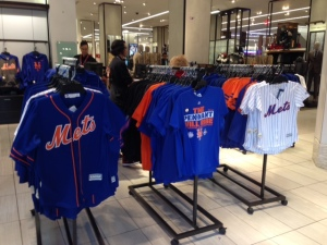 Mets merchandise following its Pennant win at the entrance to the flagship Macy's in Herald Square.